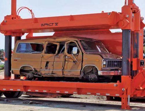 Machine makes cars compact